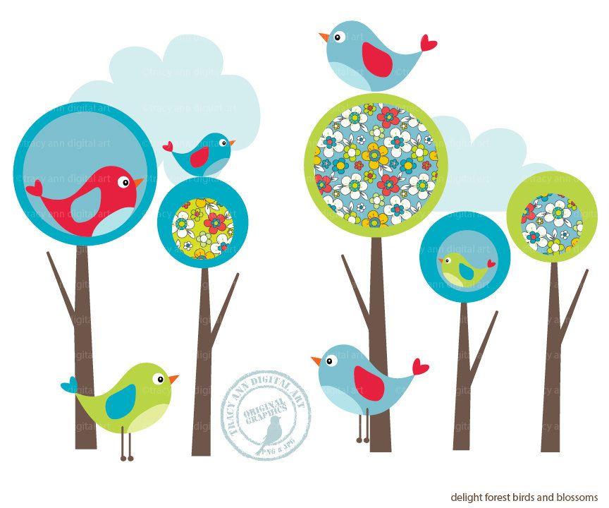 Modern Forest and Bird Clip Art by TracyAnnDigitalArt on.