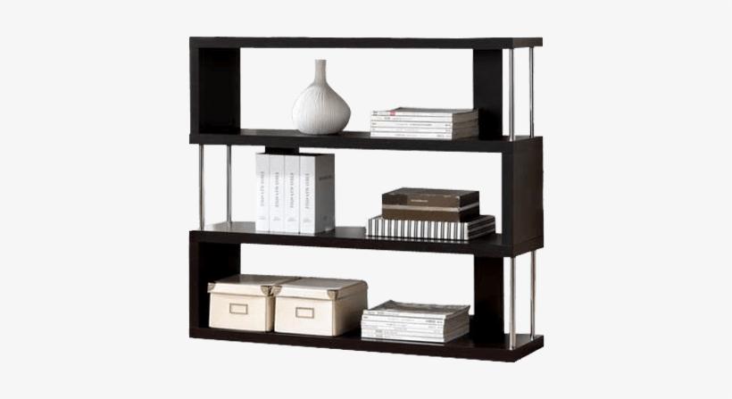 Modern Bookshelf With Zig Zag Shelves.