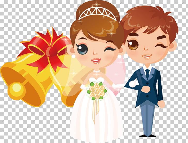 Wedding invitation Cartoon Bride , Cartoon Modern wedding.