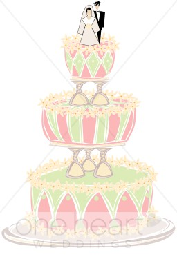 Modern Wedding Cake Clipart.