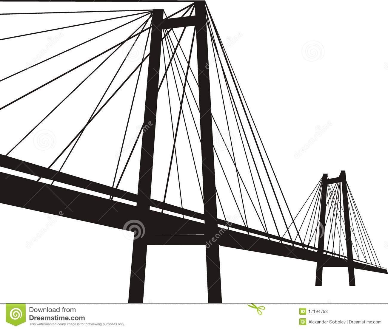 Modern Suspension Bridge Clipart.