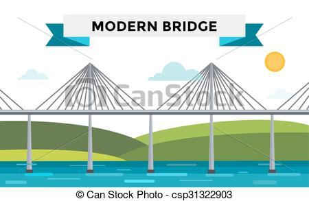 Vector Clipart of Modern bridge illustration.