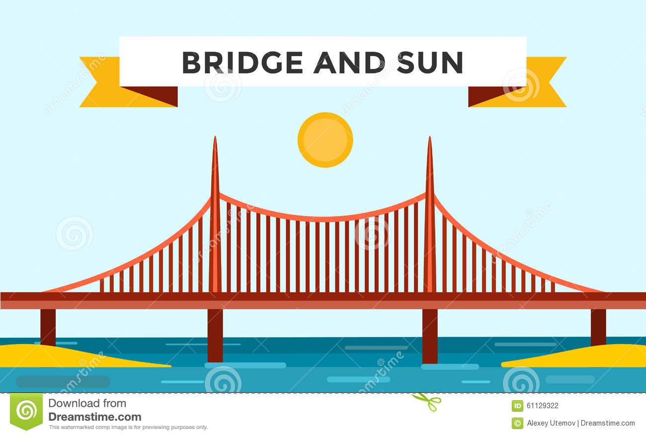 Modern Bridge Vector Illustration Stock Vector.