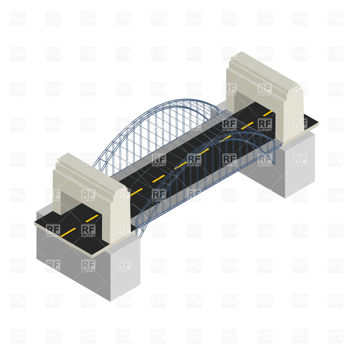 Isometric drawing of a modern bridge Vector Image #6334.