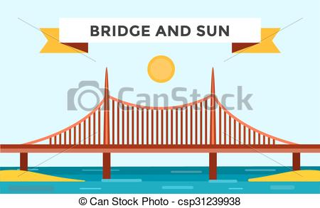 Vectors of Modern bridge illustration.