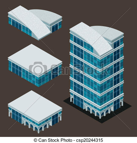 Vector Clip Art of isometric modern building.