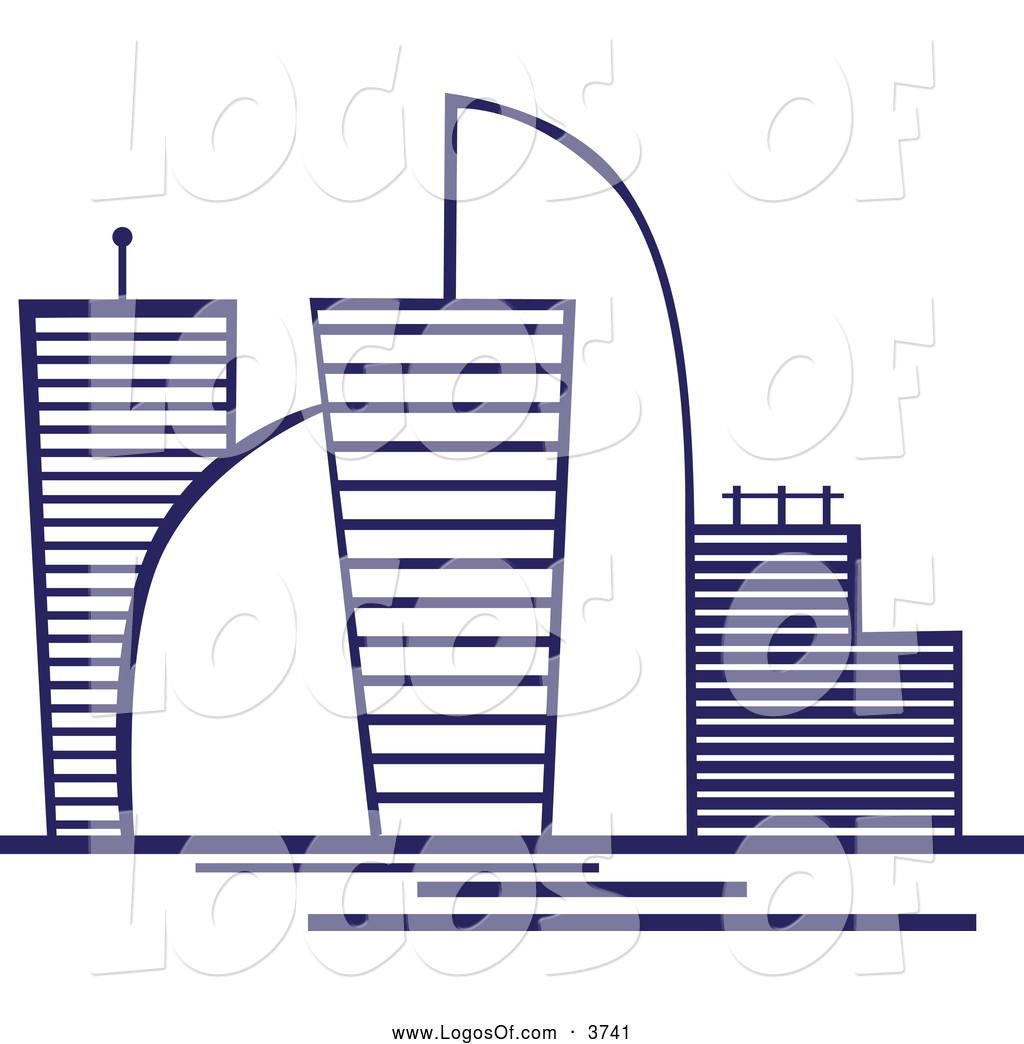 Logo Vector of a Blue Skyscraper Logo with Modern Buildings by.