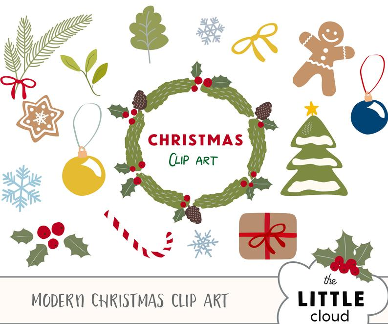 VECTOR version! Hand drawn christmas clip art set. Christmas wreath, holly  berry clipart, christmas tree, bauble ornament, winter clip art.