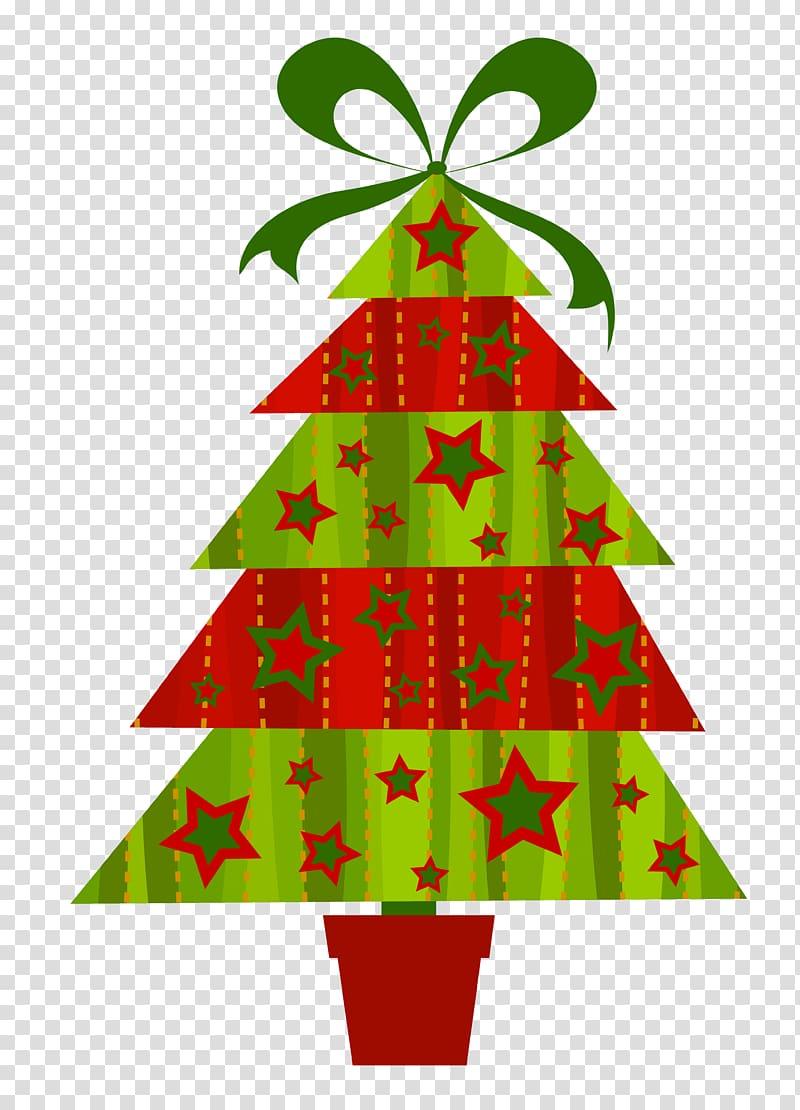 Red and green Christmas tree illustration, Christmas tree.