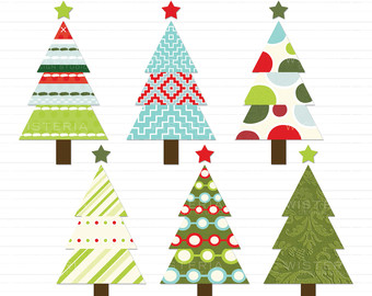 Modern Christmas Tree Clipart Free.