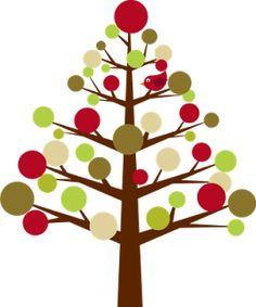 Christmas tree modern clipart.