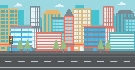 Background of modern city Clipart Image.