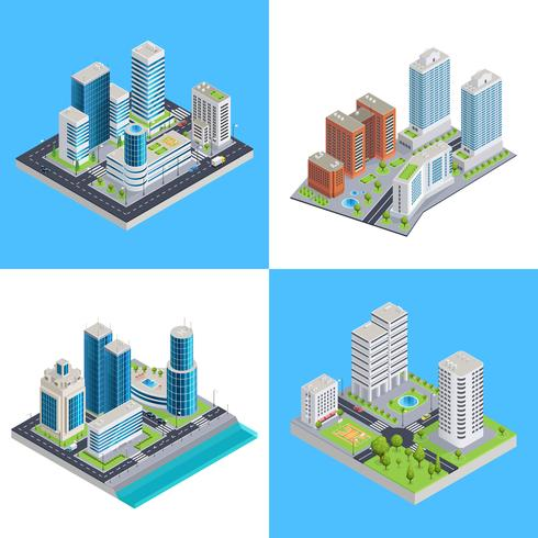 Modern City Isometric Compositions.