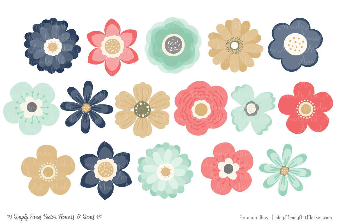 Simply Sweet Vector Flowers & Stems Clipart in Modern Chic.