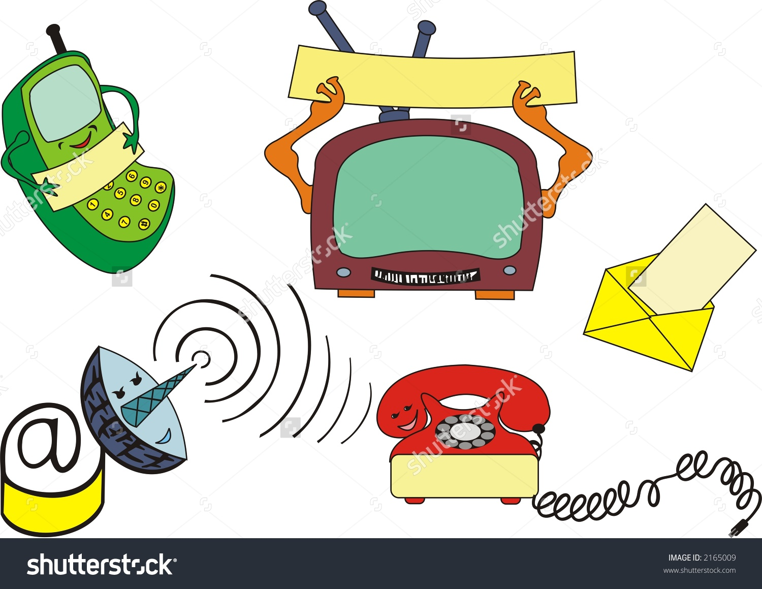 Several Modern Communication Devices On A3 Stock Illustration.
