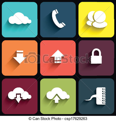 Clip Art Vector of Modern communication signs on color plates.