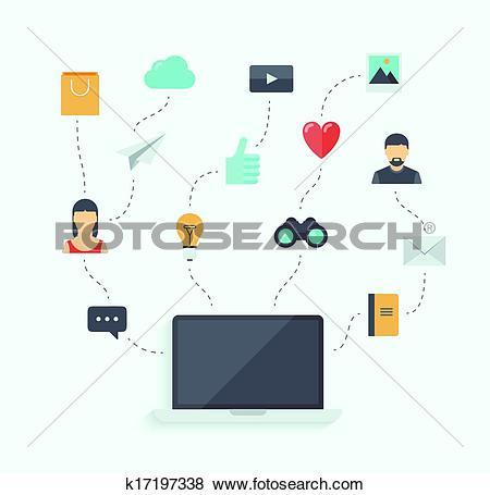 Clip Art of Modern communication technology flat illustration.