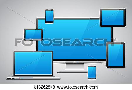 Clip Art of Modern communication equipment. k13262878.