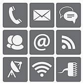 Clip Art of Set of modern communication signs and icons k14070936.