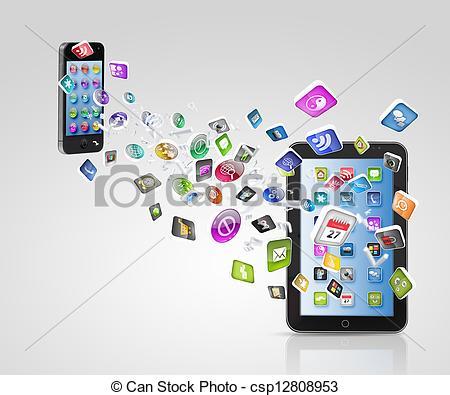 Stock Illustrations of Modern communication technology.