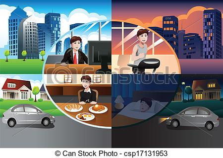 Clipart Vector of Day in life of a modern man.