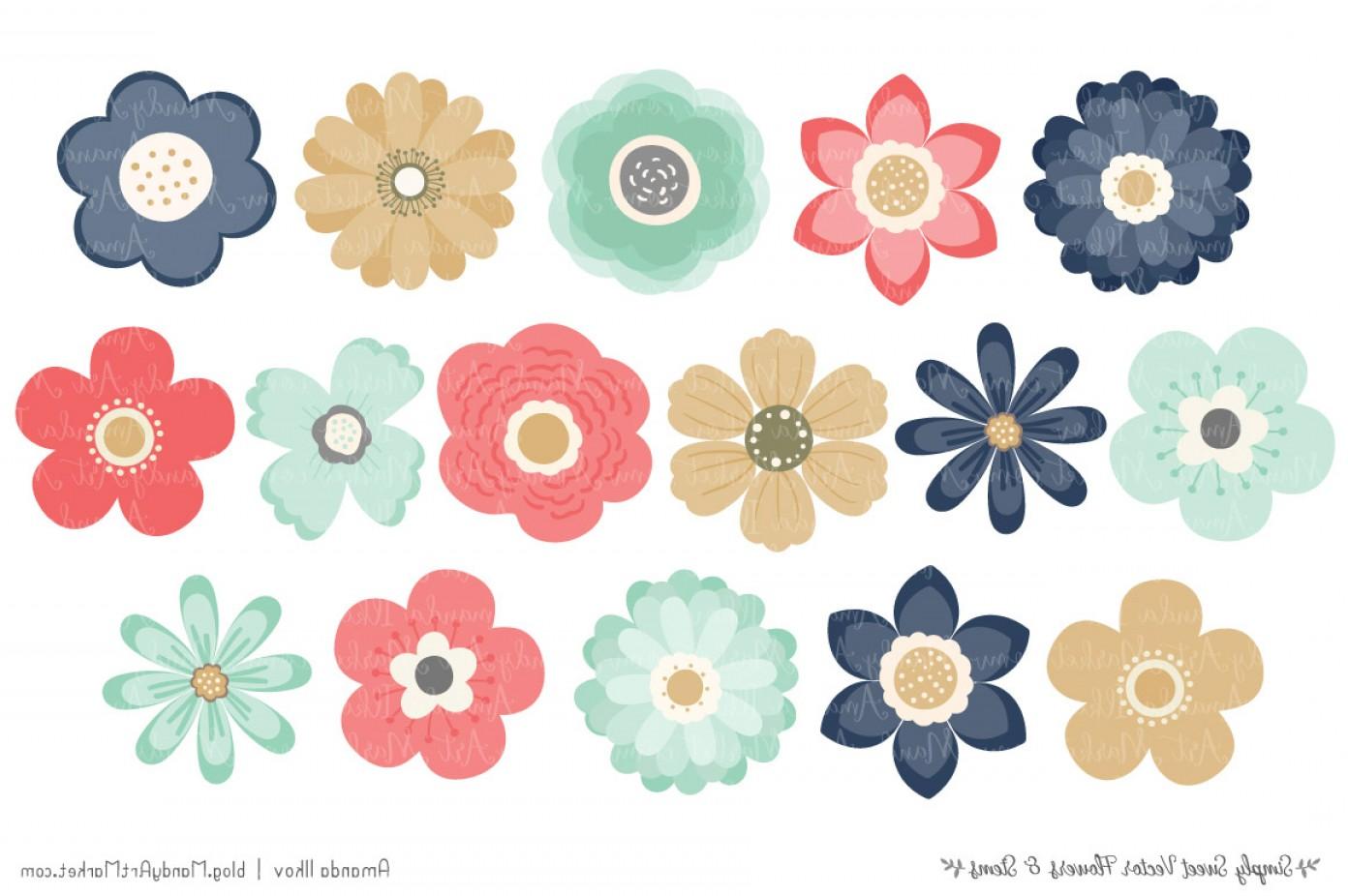 Modern Flower Clipart.