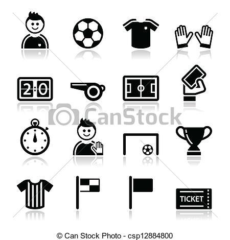 Vector Clipart of Soccer / football vector icons set.