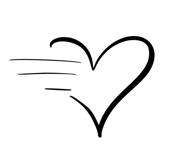 Lovely calligraphy heart icon with fast speed effect. Vector.