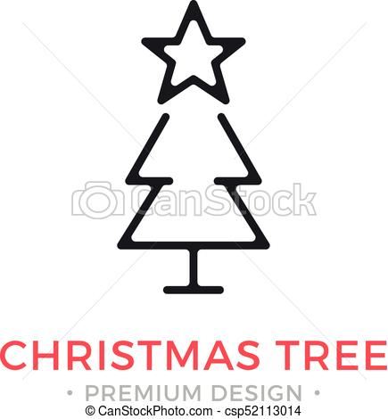 Vector Christmas tree icon. Holidays, Xmas, New Year concepts. Modern  graphic design. Outline symbol, sign, simple thin line icon.