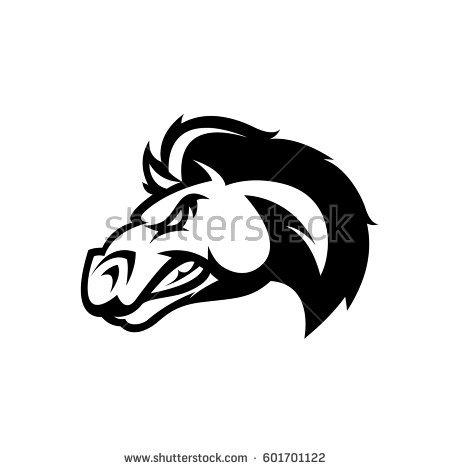 Furious Horse Head Mono Sport Club Stock Vector 601701122.