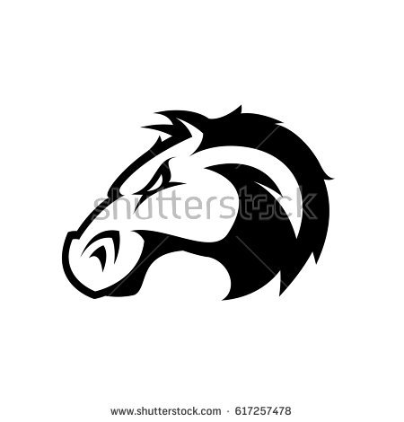 Graphic Tribal Tattoo Illustration Mustang Bronco Stock Vector.