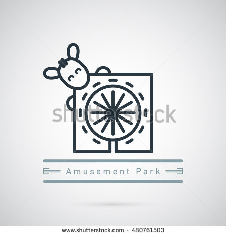 Amusement Park With Funny Horse Face Logo Template. Amusing Sign.