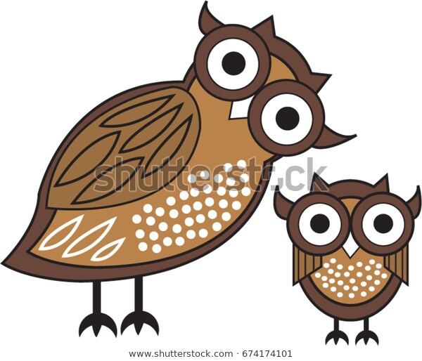 Modern Owl Cartoon Brown Owl Baby Stock Vector (Royalty Free.