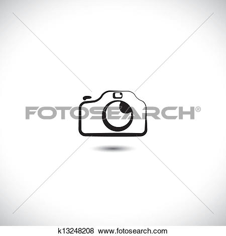 Clip Art of Illustration of digital modern camera with flash icon.