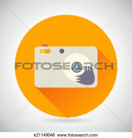Clip Art of Photography Symbol Compact Camera Zoom Icon on Stylish.