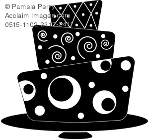 Clip Art Illustration of a Modern Fondant Cake in Black and White.