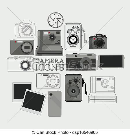 Vector Clipart of Vintage and Modern Camera Set.