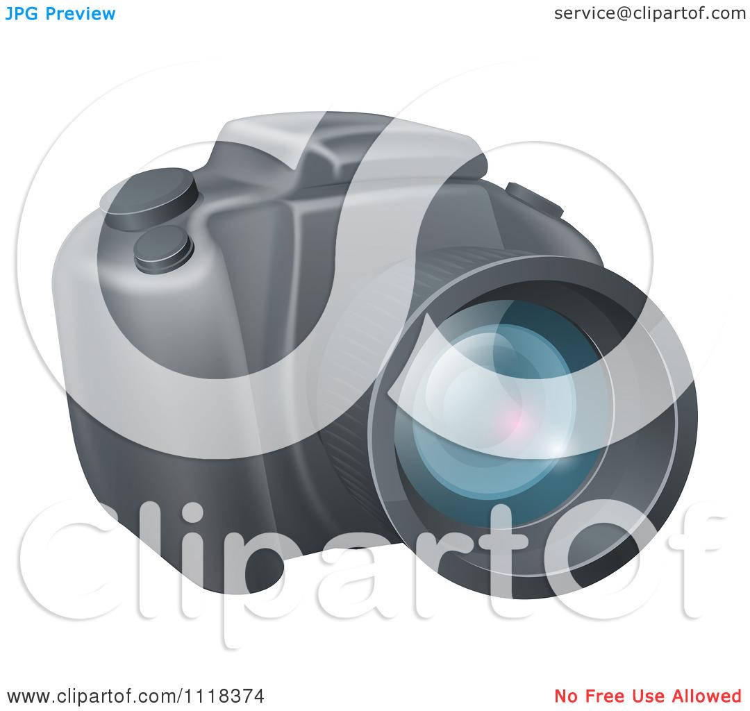 Clipart Of A Modern DSLR Camera.