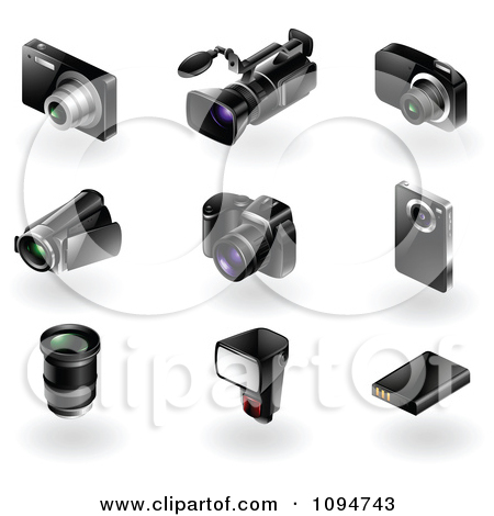 Clipart 3d Black Modern Camera And Video Recorder Icons.