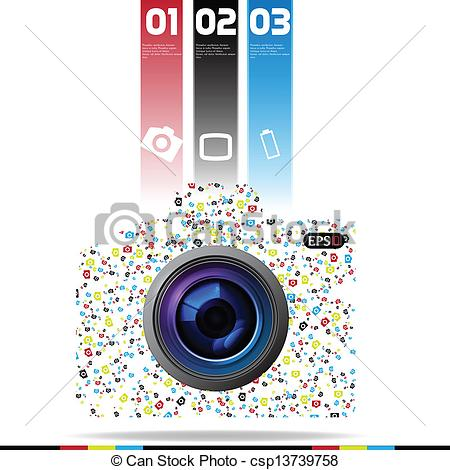 Clipart Vector of Modern Camera DSLR Design template can be used.