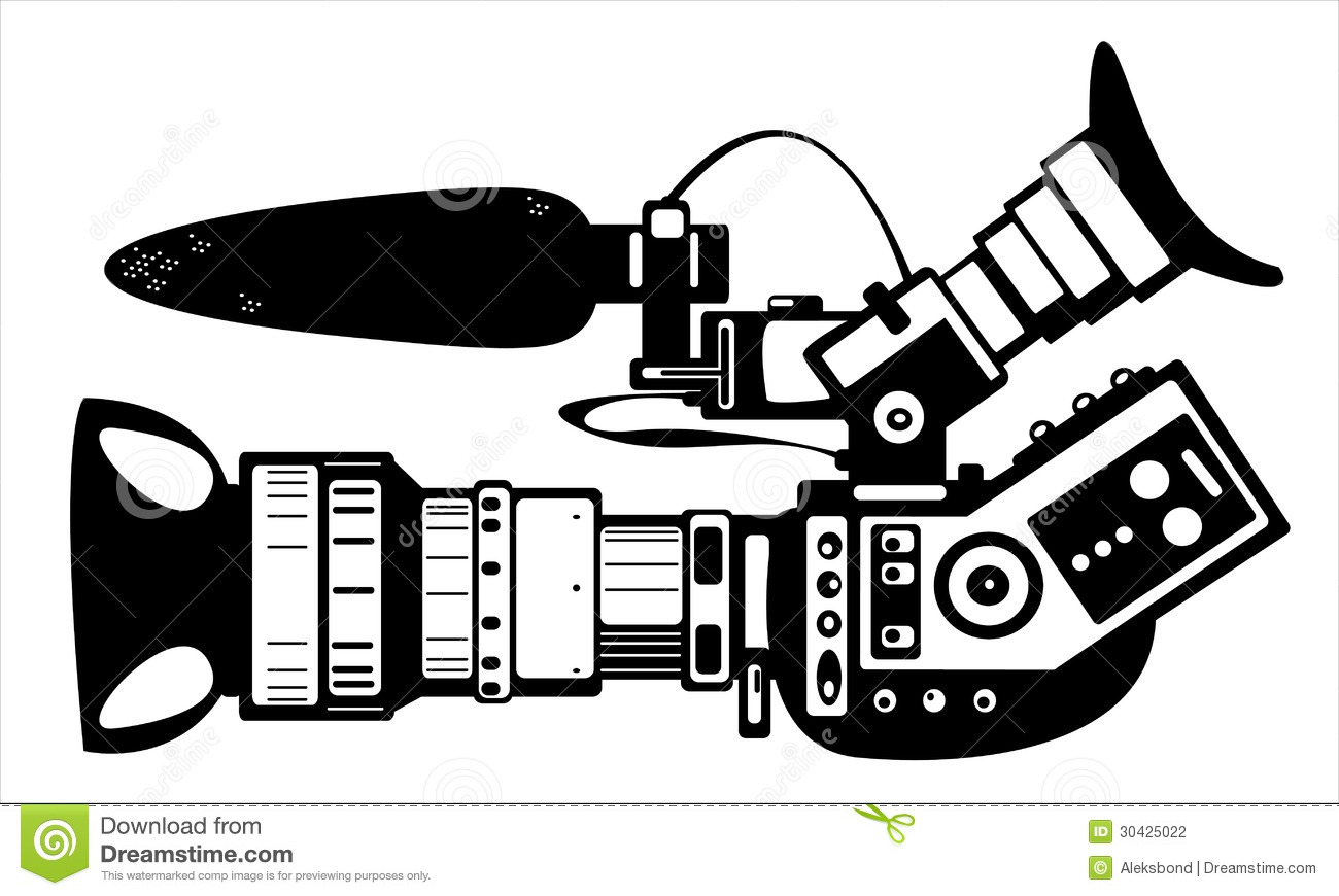 Vector Film Modern Camera Isolated On White Stock Photography.