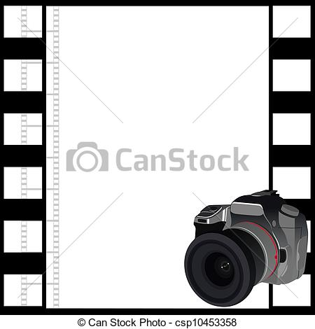 Clipart Vector of Camera and a frame of film.