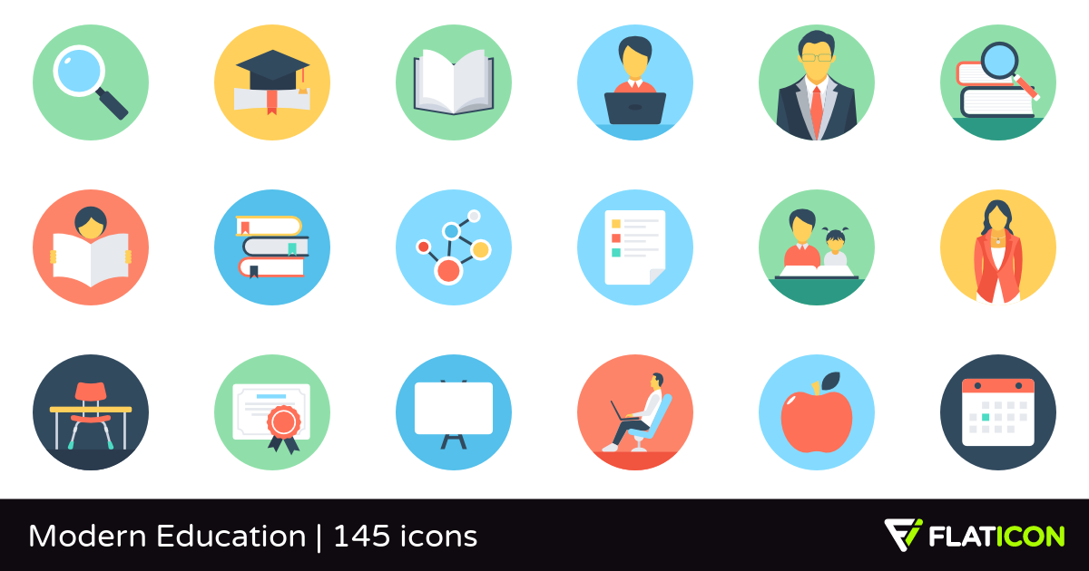 Modern Education 145 free icons (SVG, EPS, PSD, PNG files).