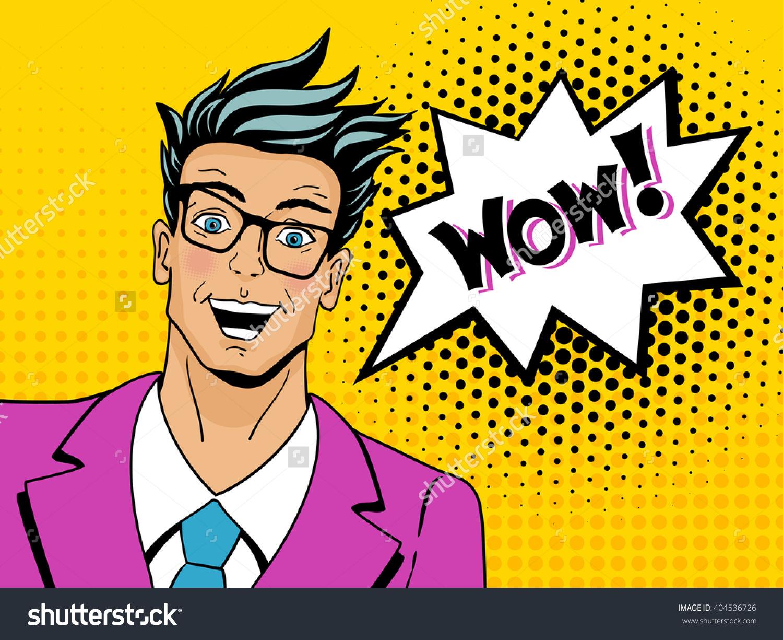 Wow Face Pop Art Man Young Stock Vector 404536726.