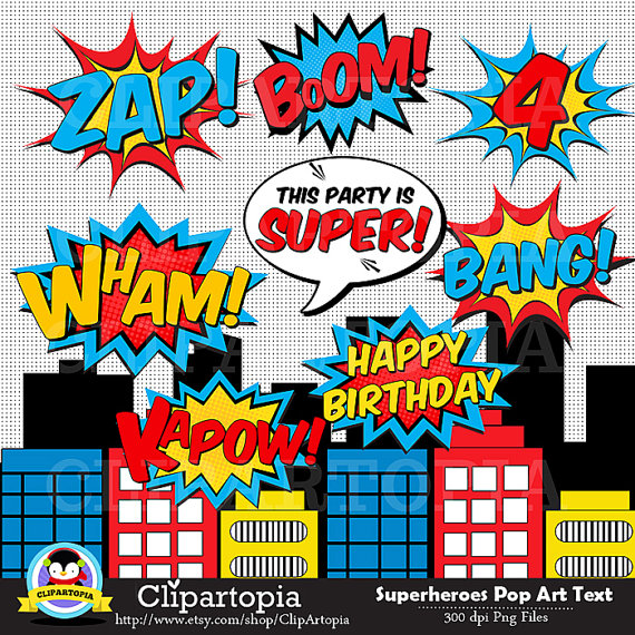 Superheroes Pop Art Text and Bubbles Clipart / Super hero Text and.