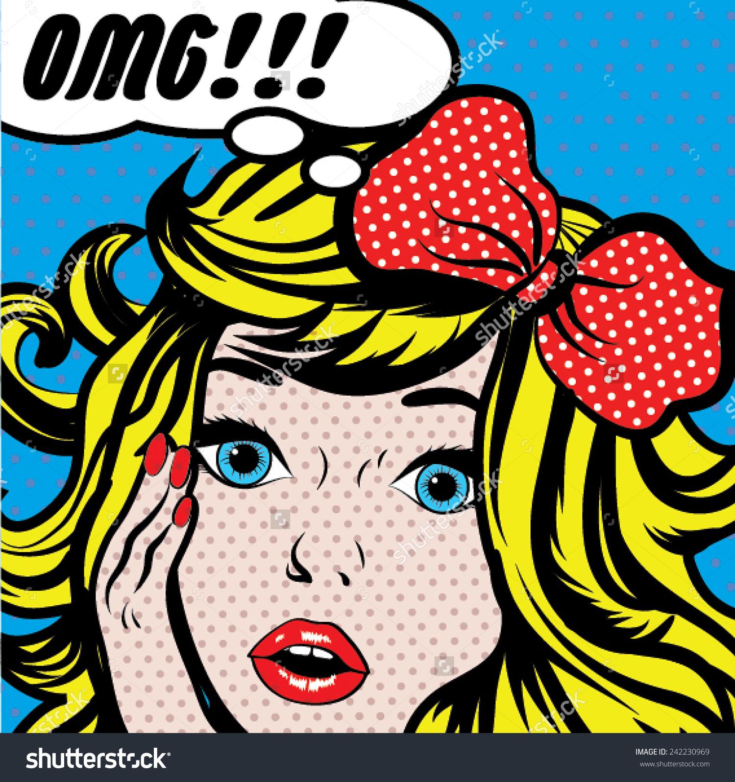 Pop Art Woman Omg Sign Vector Stock Vector 242230969.