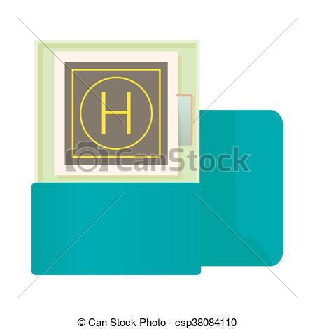 Vector Clip Art of Modern building with helipad on the roof icon.