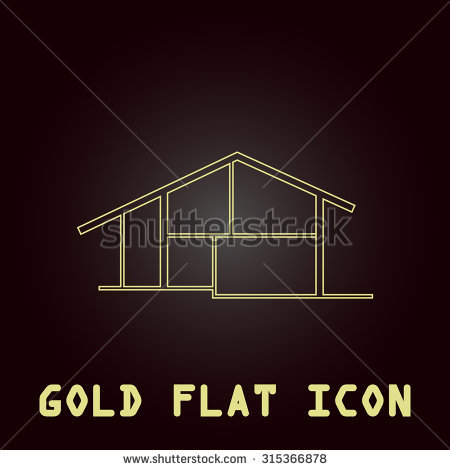 Gold house roof outline clipart.