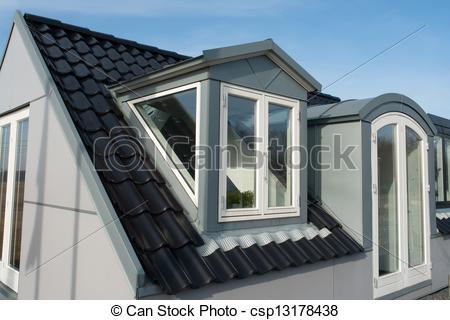 Stock Photos of Modern vertical roof windows.
