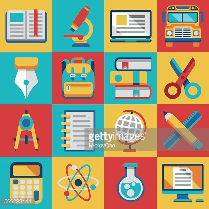 School and college education modern flat icons Clipart Image.